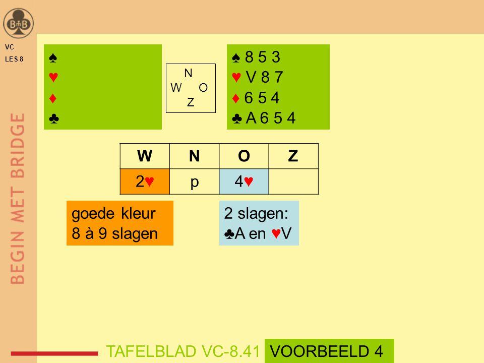 ♠ ♥ ♦ ♣ ♠ 8 5 3 ♥ V 8 7 ♦ 6 5 4 ♣ A 6 5 4 W N O Z 2♥ p 4♥ goede kleur