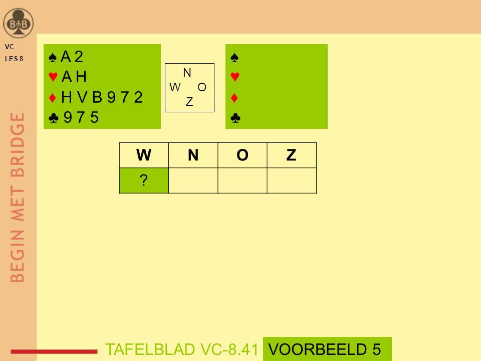 ♠ A 2 ♥ A H ♦ H V B 9 7 2 ♣ 9 7 5 ♠ ♥ ♦ ♣ W N O Z TAFELBLAD VC-8.41