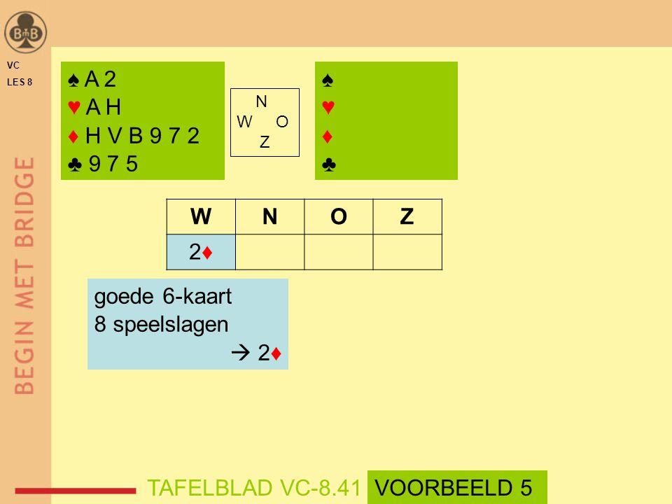 ♠ A 2 ♥ A H ♦ H V B 9 7 2 ♣ 9 7 5 ♠ ♥ ♦ ♣ W N O Z 2♦ goede 6-kaart