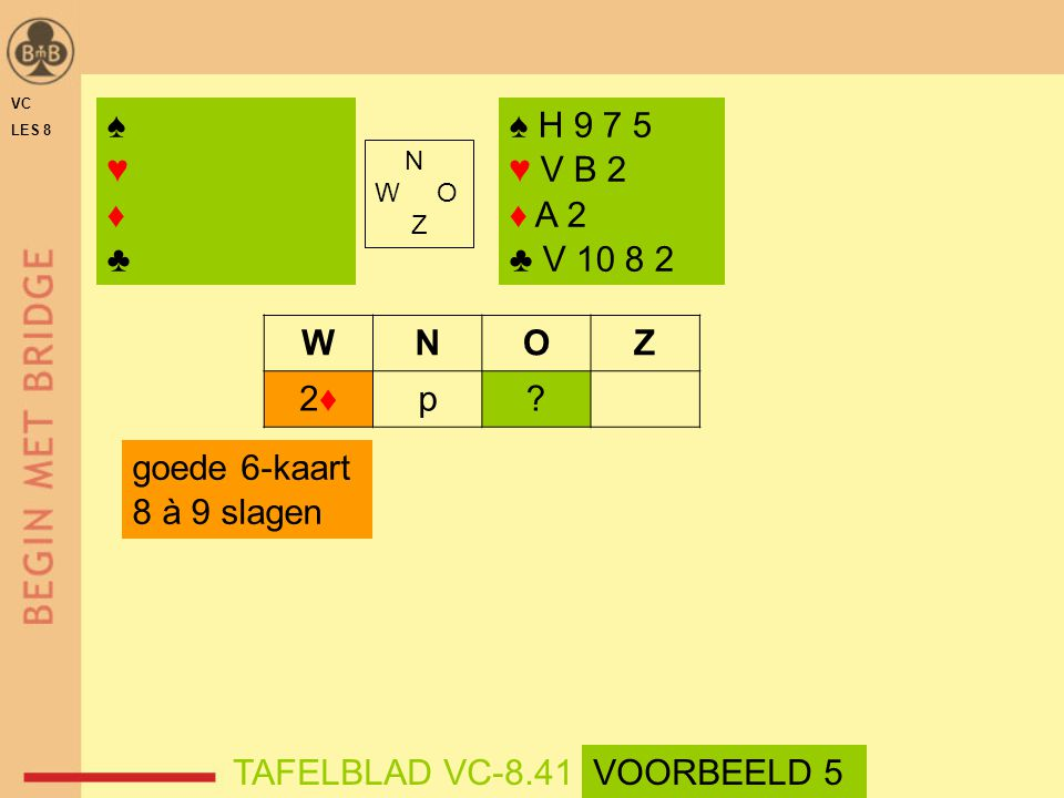 VC LES 8. ♠ ♥ ♦ ♣ ♠ H 9 7 5. ♥ V B 2. ♦ A 2. ♣ V 10 8 2. N. W O. Z. W. N. O. Z. 2♦