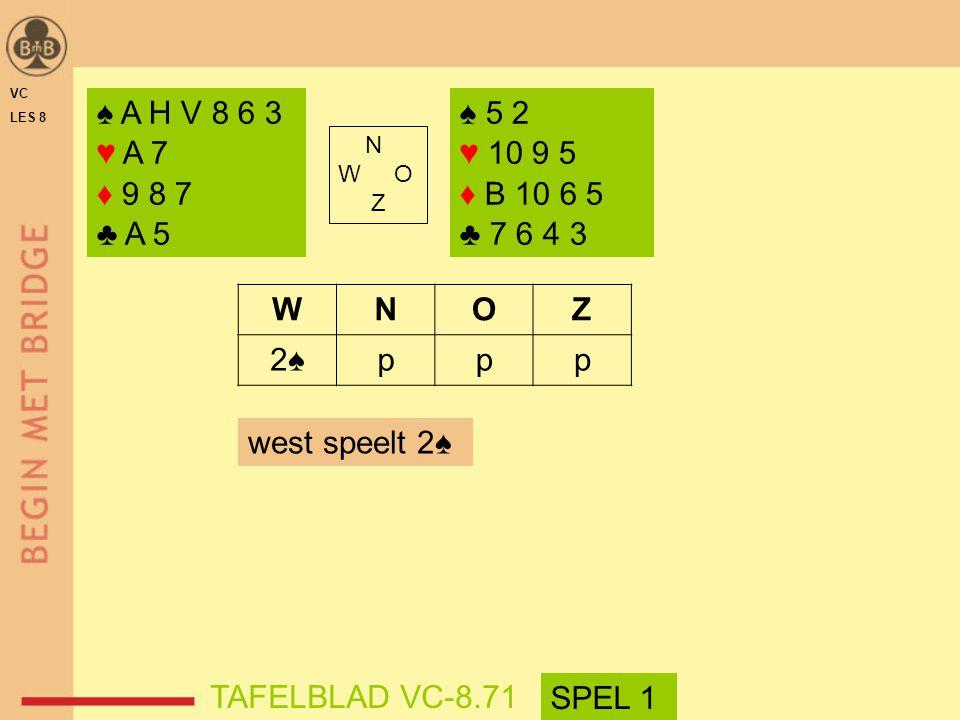 VC LES 8. ♠ A H V 8 6 3. ♥ A 7. ♦ 9 8 7. ♣ A 5. ♠ 5 2. ♥ 10 9 5. ♦ B 10 6 5. ♣ 7 6 4 3. N.