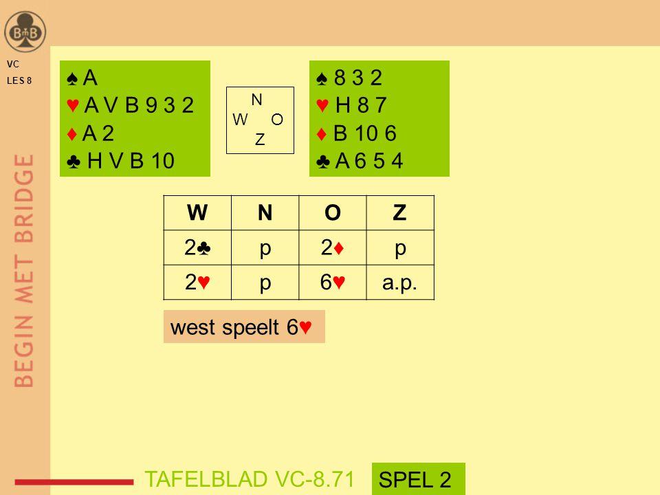 VC LES 8. ♠ A. ♥ A V B 9 3 2. ♦ A 2. ♣ H V B 10. ♠ 8 3 2. ♥ H 8 7. ♦ B 10 6. ♣ A 6 5 4. N.