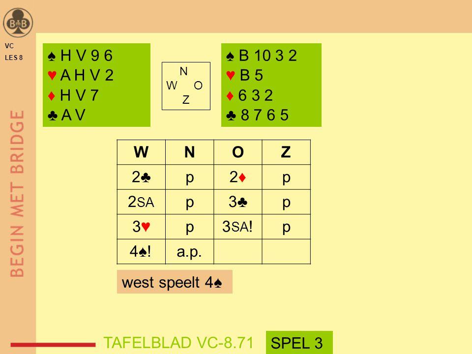 ♠ H V 9 6 ♥ A H V 2 ♦ H V 7 ♣ A V ♠ B 10 3 2 ♥ B 5 ♦ 6 3 2 ♣ 8 7 6 5 W