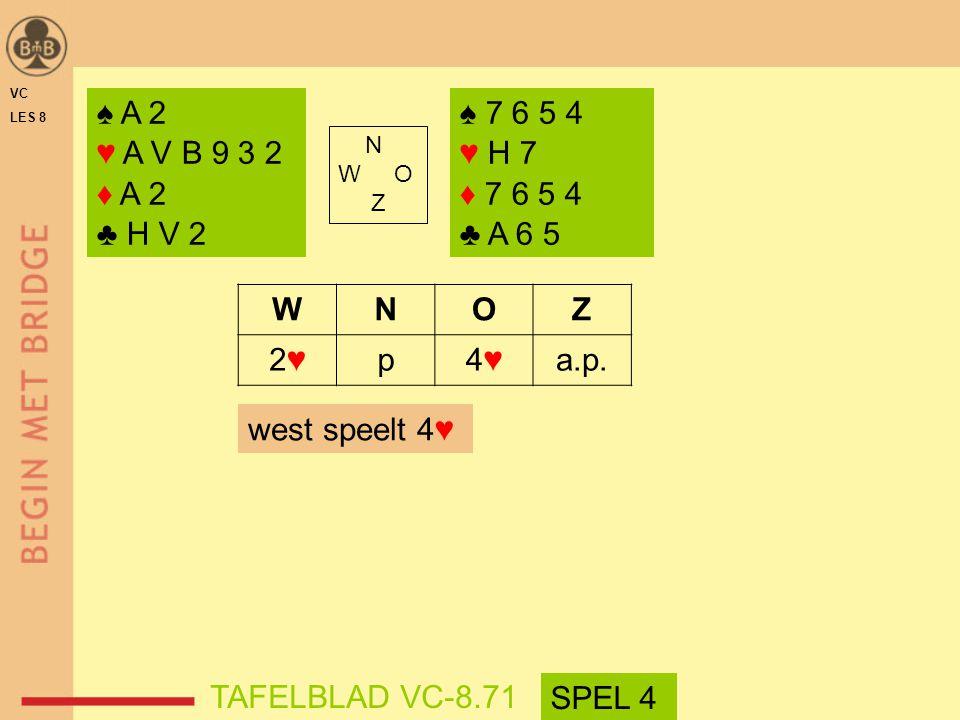 VC LES 8. ♠ A 2. ♥ A V B 9 3 2. ♦ A 2. ♣ H V 2. ♠ 7 6 5 4. ♥ H 7. ♦ 7 6 5 4. ♣ A 6 5. N. W O.