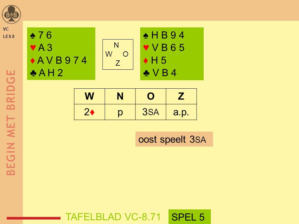 ♠ 7 6 ♥ A 3 ♦ A V B 9 7 4 ♣ A H 2 ♠ H B 9 4 ♥ V B 6 5 ♦ H 5 ♣ V B 4 W