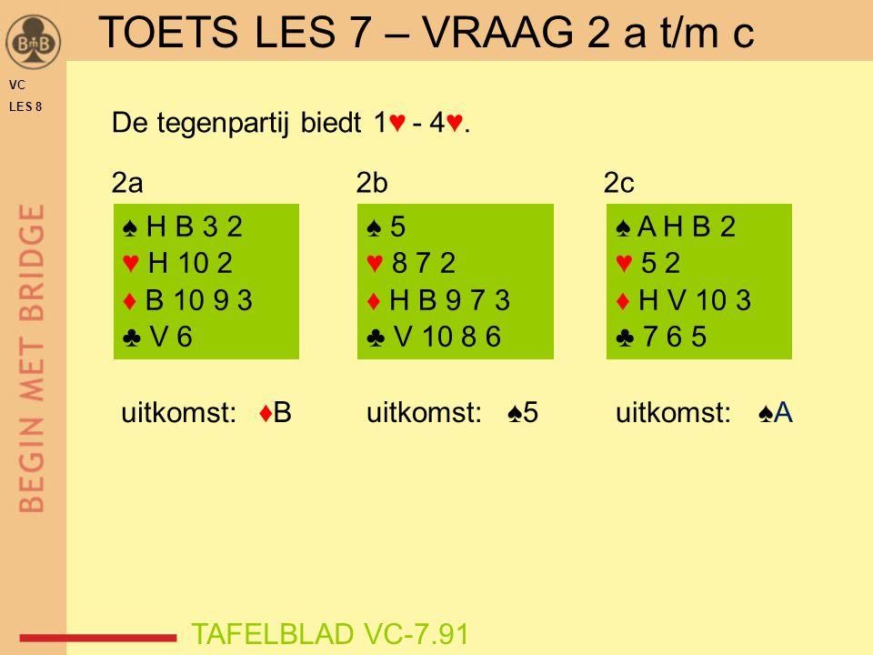TOETS LES 7 – VRAAG 2 a t/m c De tegenpartij biedt 1♥ - 4♥. 2a 2b 2c