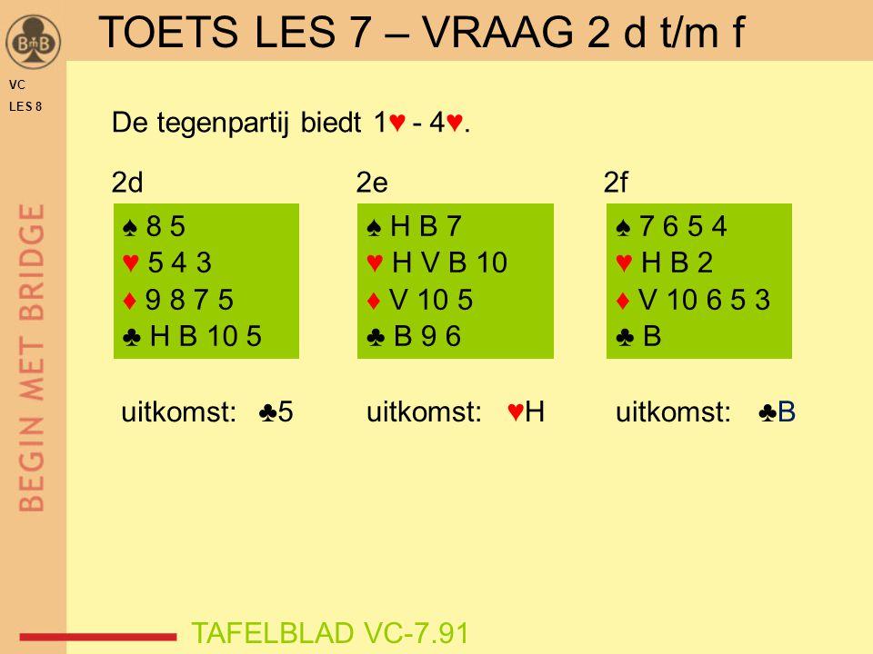 TOETS LES 7 – VRAAG 2 d t/m f De tegenpartij biedt 1♥ - 4♥. 2d 2e 2f