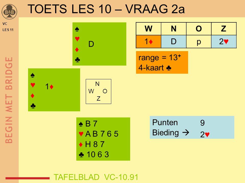 TOETS LES 10 – VRAAG 2a ♠ ♥ ♦ ♣ D 2♥ D p W N O Z 1♦ D range = 13+