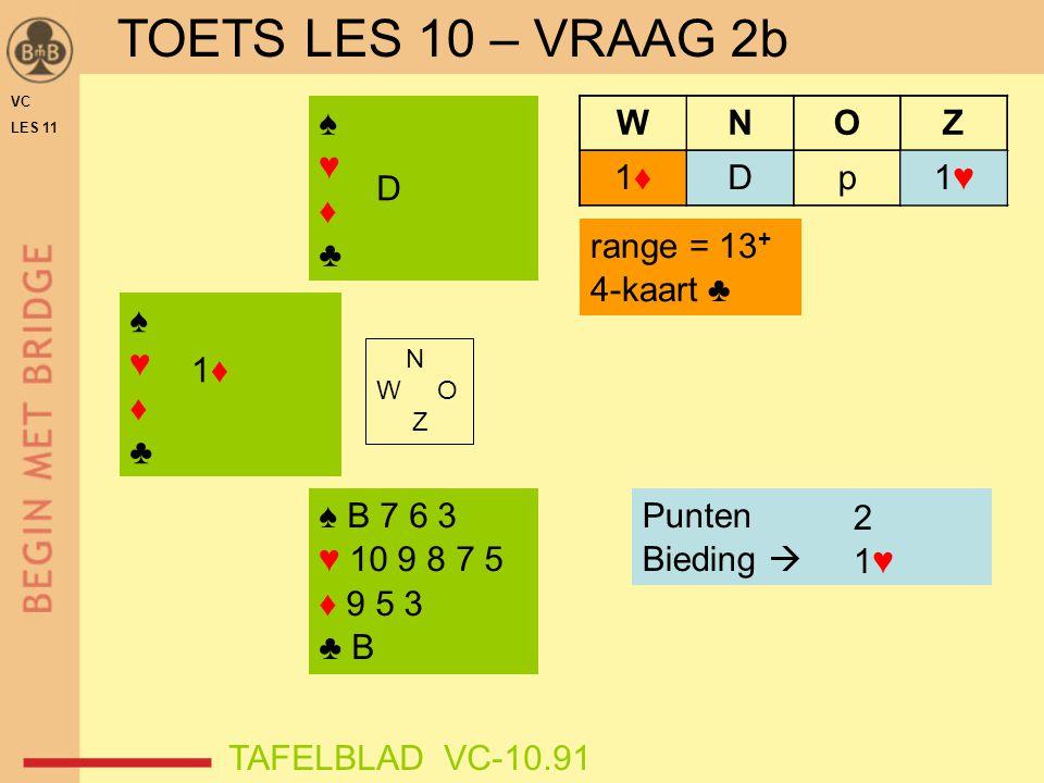 TOETS LES 10 – VRAAG 2b ♠ ♥ ♦ ♣ 1♥ D p W N O Z 1♦ D range = 13+