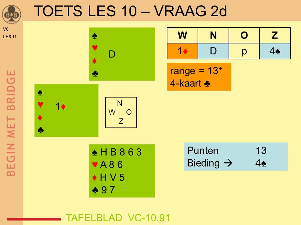 TOETS LES 10 – VRAAG 2d ♠ ♥ ♦ ♣ 4♠ D p W N O Z 1♦ D range = 13+