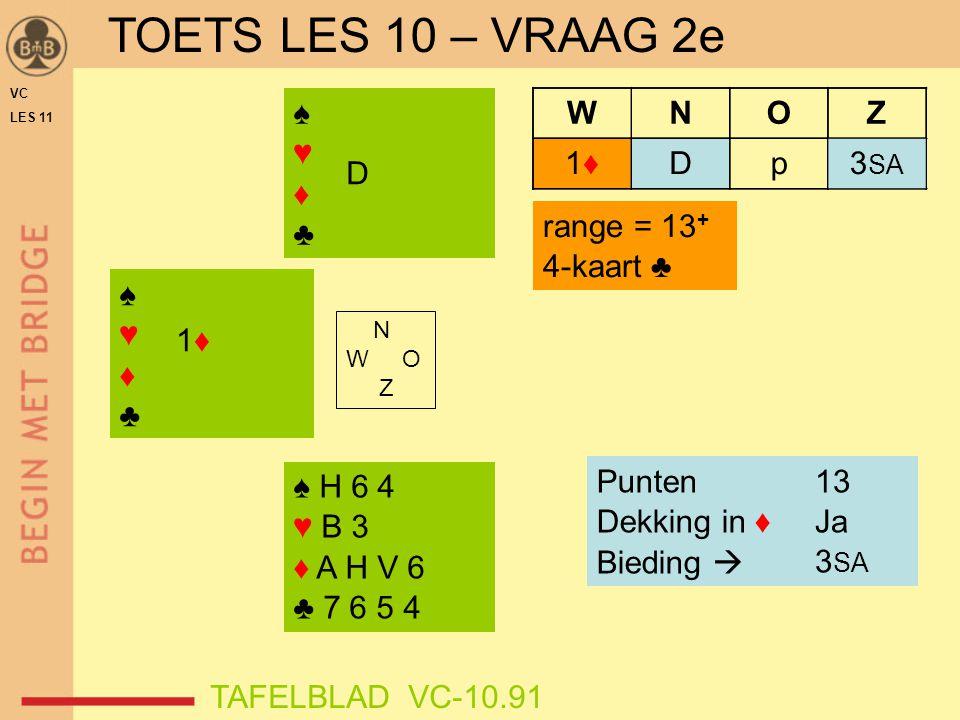 TOETS LES 10 – VRAAG 2e ♠ ♥ ♦ ♣ D p 3SA W N O Z 1♦ D range = 13+