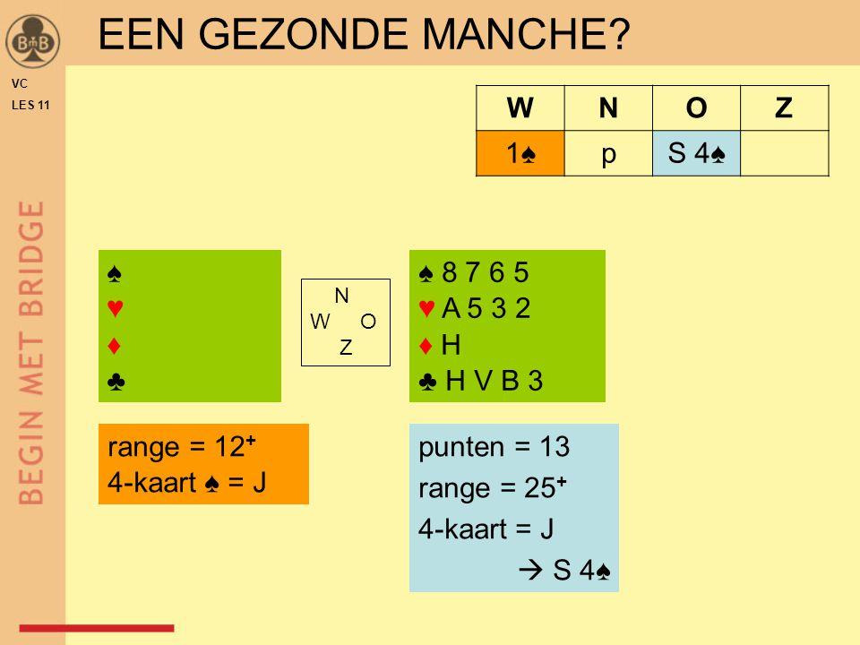 EEN GEZONDE MANCHE W N O Z 1♠ p S 4♠ ♠ ♥ ♦ ♣ ♠ 8 7 6 5 ♥ A 5 3 2 ♦ H