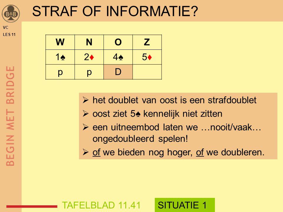 STRAF OF INFORMATIE W N O Z 1♠ 2♦ 4♠ 5♦ p D