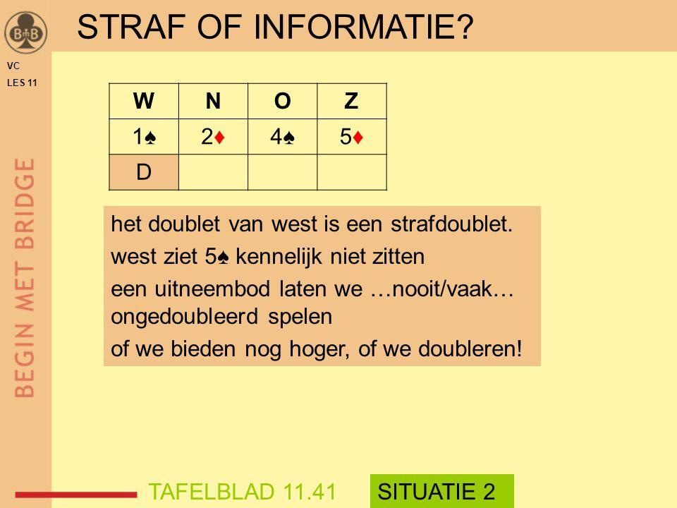 STRAF OF INFORMATIE W N O Z 1♠ 2♦ 4♠ 5♦ D