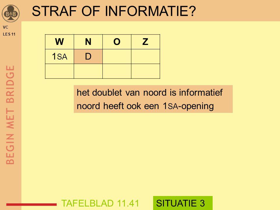 STRAF OF INFORMATIE W N O Z 1SA D