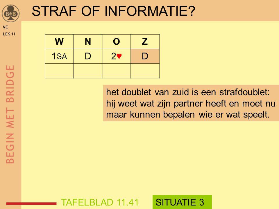 STRAF OF INFORMATIE W N O Z 1SA D 2♥