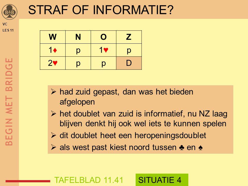 STRAF OF INFORMATIE W N O Z 1♦ p 1♥ 2♥ D