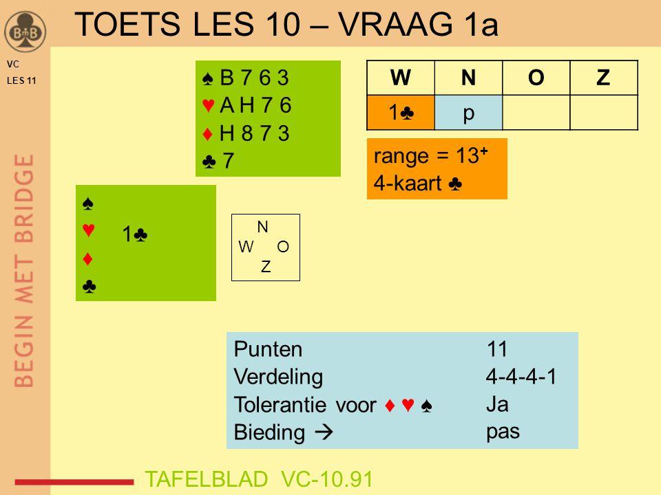 TOETS LES 10 – VRAAG 1a ♠ B 7 6 3 ♥ A H 7 6 ♦ H 8 7 3 ♣ 7 W N O Z 1♣
