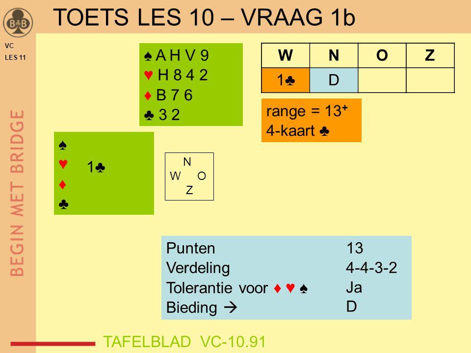 TOETS LES 10 – VRAAG 1b ♠ A H V 9 ♥ H 8 4 2 ♦ B 7 6 ♣ 3 2 W N O Z 1♣