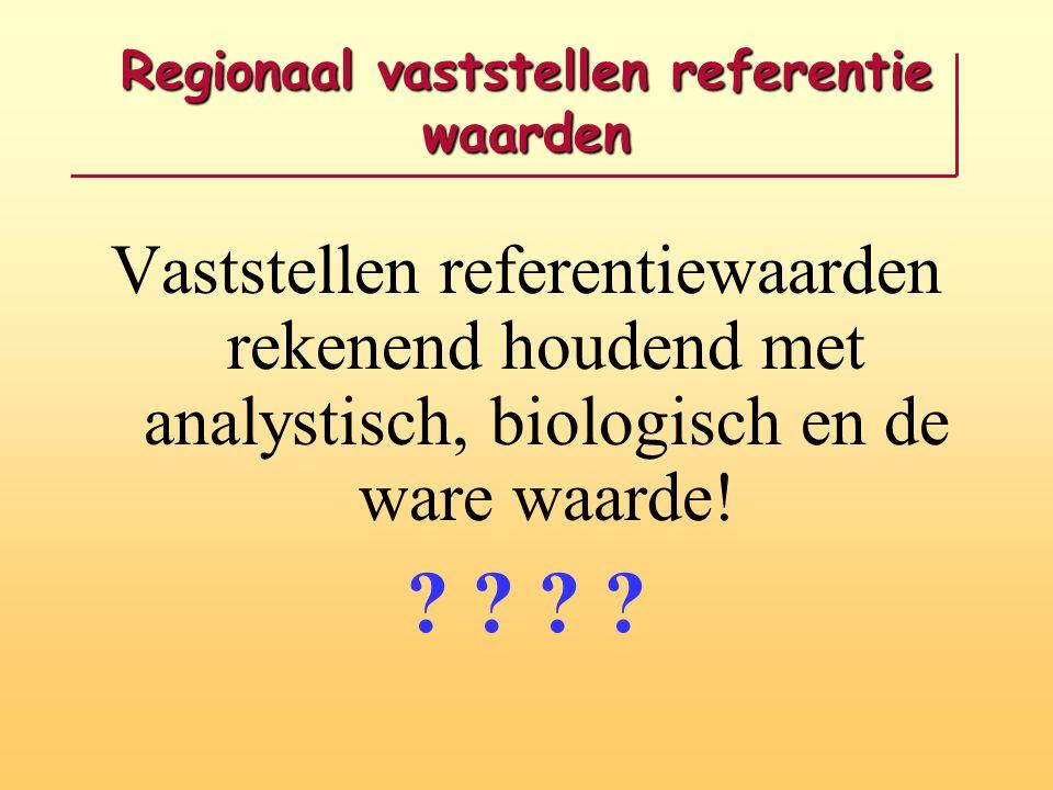 Regionaal vaststellen referentie waarden
