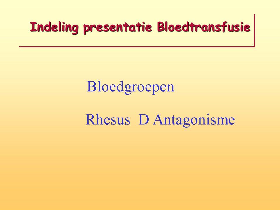Indeling presentatie Bloedtransfusie