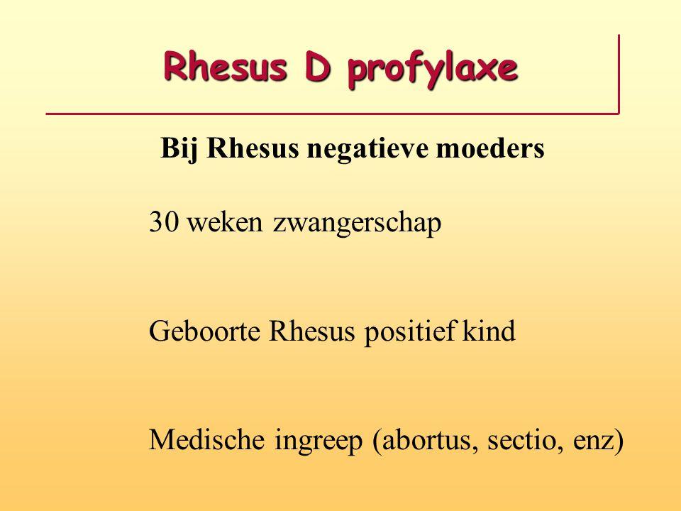 Rhesus D profylaxe Bij Rhesus negatieve moeders 30 weken zwangerschap
