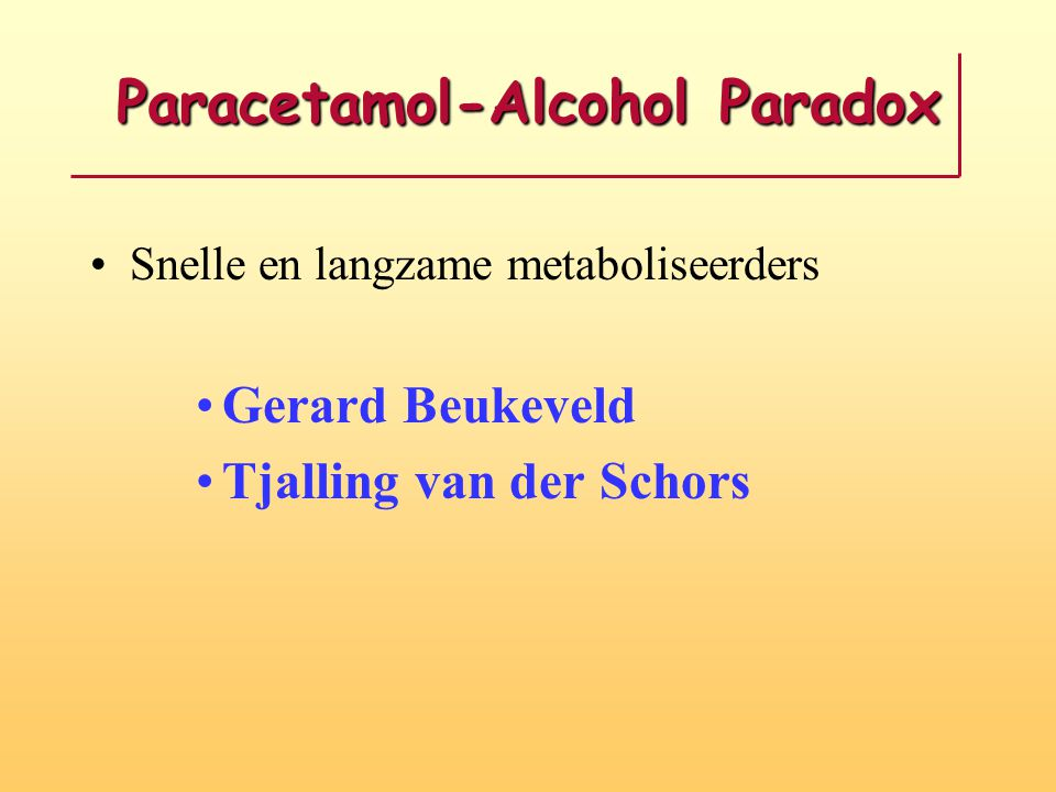 Paracetamol-Alcohol Paradox