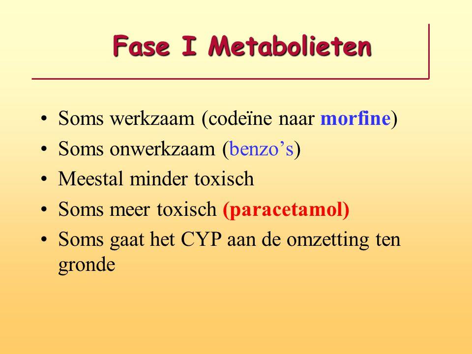 Fase I Metabolieten Soms werkzaam (codeïne naar morfine)