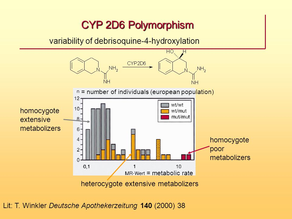 CYP 2D6 Polymorphism variability of debrisoquine-4-hydroxylation