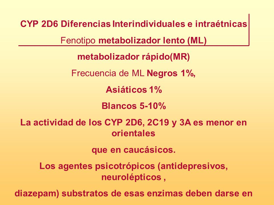 CYP 2D6 Diferencias Interindividuales e intraétnicas