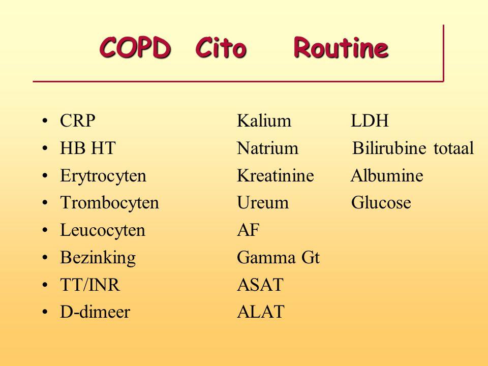 COPD Cito Routine CRP Kalium LDH HB HT Natrium Bilirubine totaal