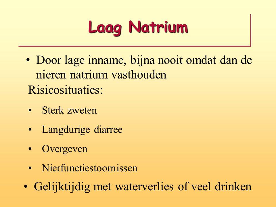 Laag Natrium Door lage inname, bijna nooit omdat dan de nieren natrium vasthouden. Risicosituaties: