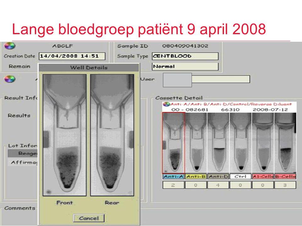Lange bloedgroep patiënt 9 april 2008