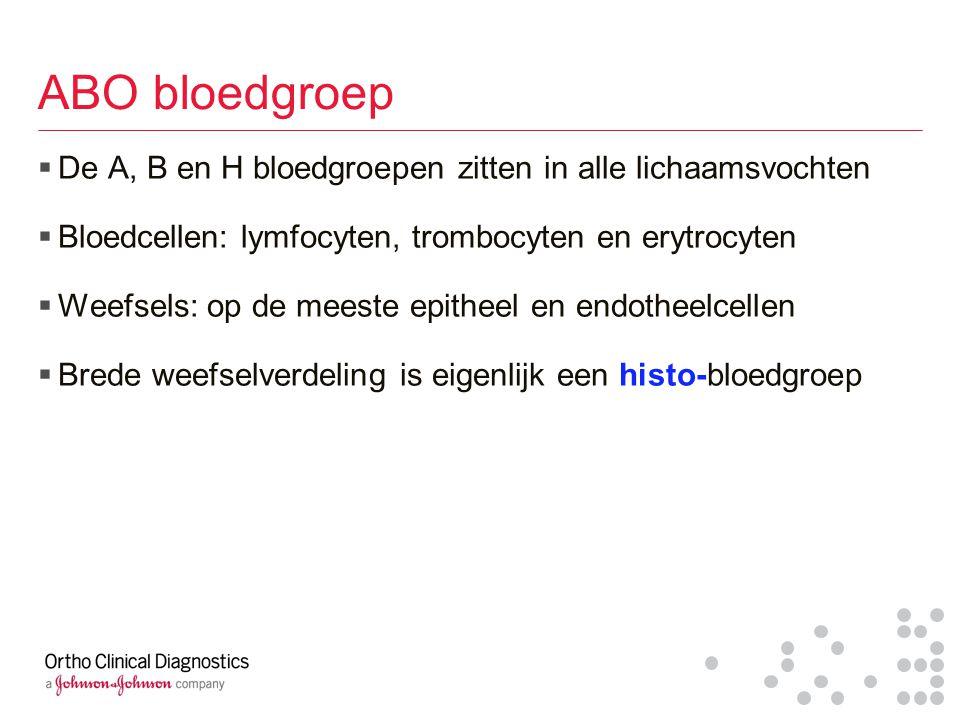 ABO bloedgroep De A, B en H bloedgroepen zitten in alle lichaamsvochten. Bloedcellen: lymfocyten, trombocyten en erytrocyten.