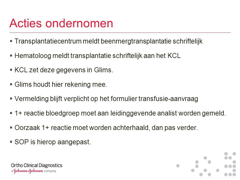 Acties ondernomen Transplantatiecentrum meldt beenmergtransplantatie schriftelijk. Hematoloog meldt transplantatie schriftelijk aan het KCL.
