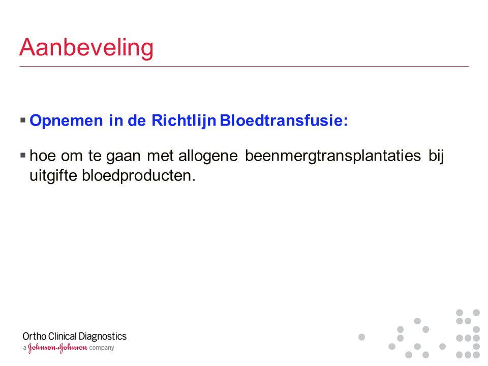 Aanbeveling Opnemen in de Richtlijn Bloedtransfusie: