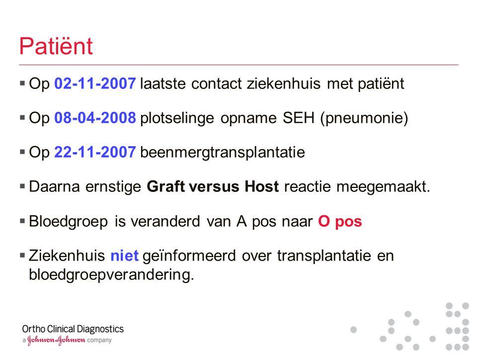 Patiënt Op 02-11-2007 laatste contact ziekenhuis met patiënt