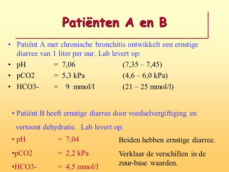Patiënten A en B Patiënt A met chronische bronchitis ontwikkelt een ernstige diarree van 1 liter per uur. Lab levert op:
