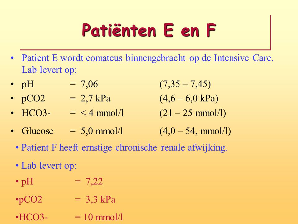 Patiënten E en F Patient E wordt comateus binnengebracht op de Intensive Care. Lab levert op: pH = 7,06 (7,35 – 7,45)
