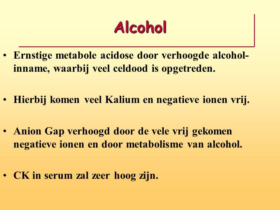 Alcohol Ernstige metabole acidose door verhoogde alcohol-inname, waarbij veel celdood is opgetreden.