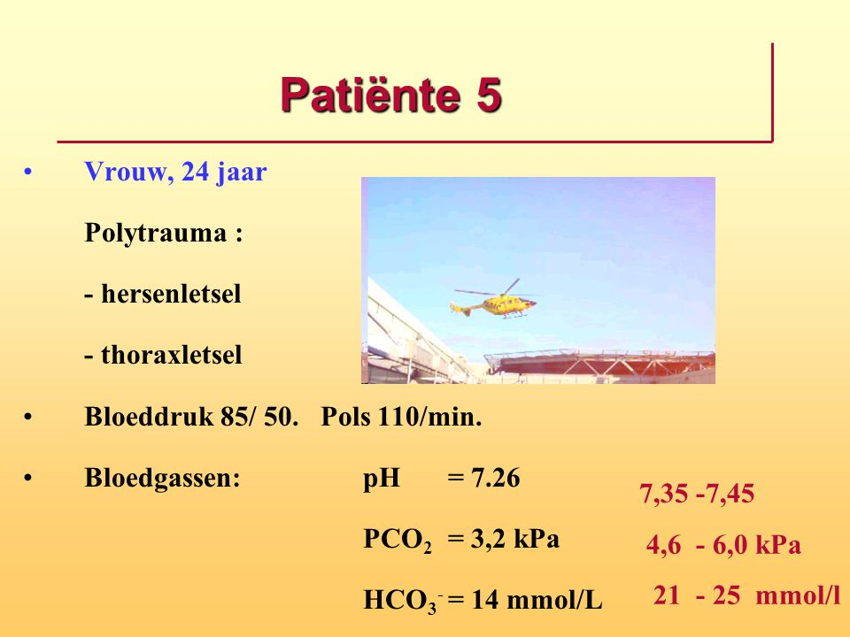 Patiënte 5 Vrouw, 24 jaar Polytrauma : - hersenletsel - thoraxletsel