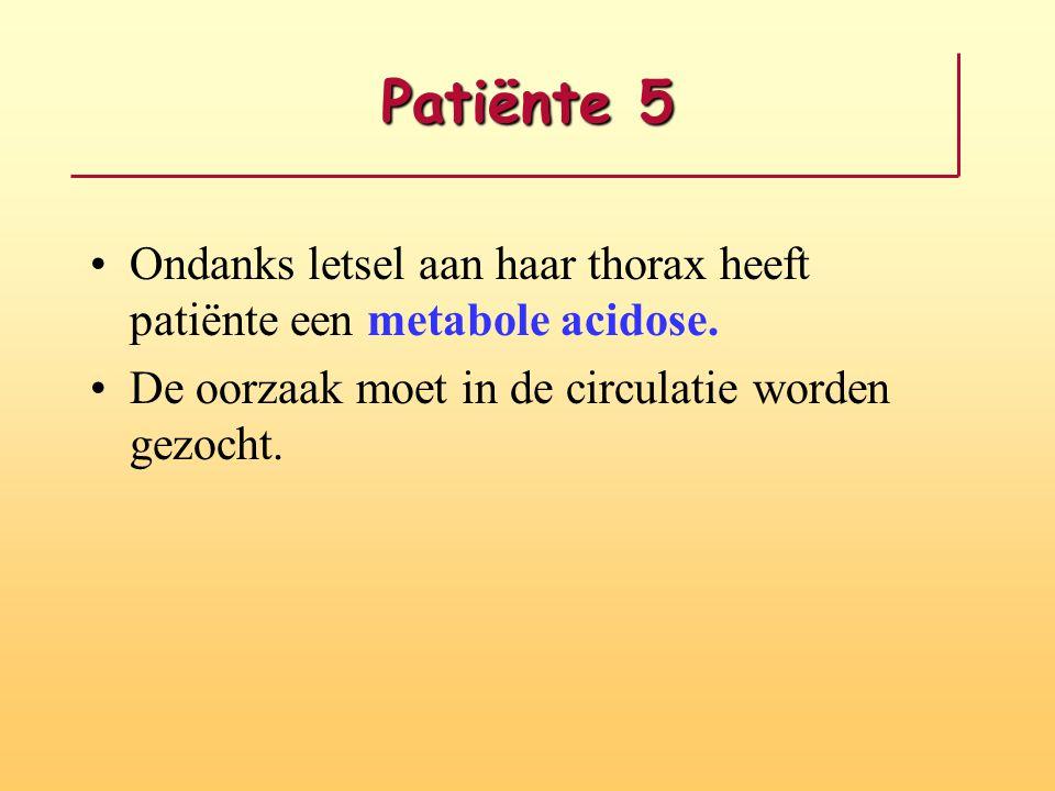 Patiënte 5 Ondanks letsel aan haar thorax heeft patiënte een metabole acidose.