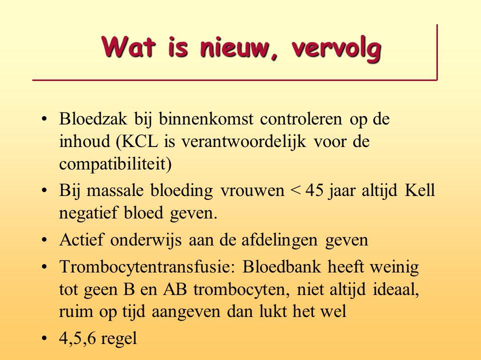 Wat is nieuw, vervolg Bloedzak bij binnenkomst controleren op de inhoud (KCL is verantwoordelijk voor de compatibiliteit)