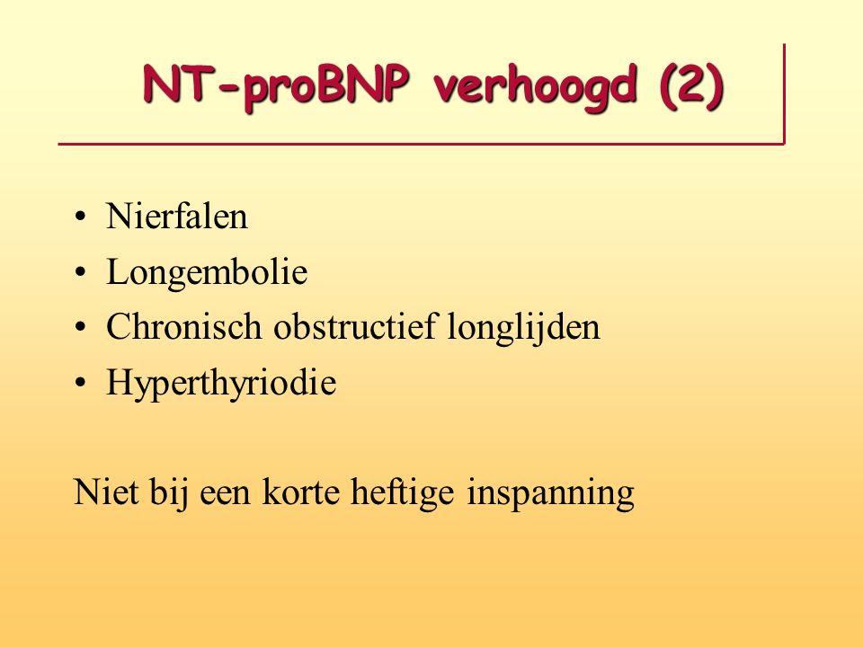 NT-proBNP verhoogd (2) Nierfalen Longembolie