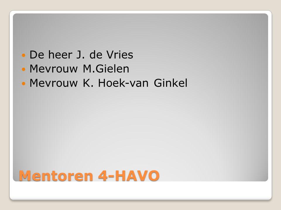 Mentoren 4-HAVO De heer J. de Vries Mevrouw M.Gielen