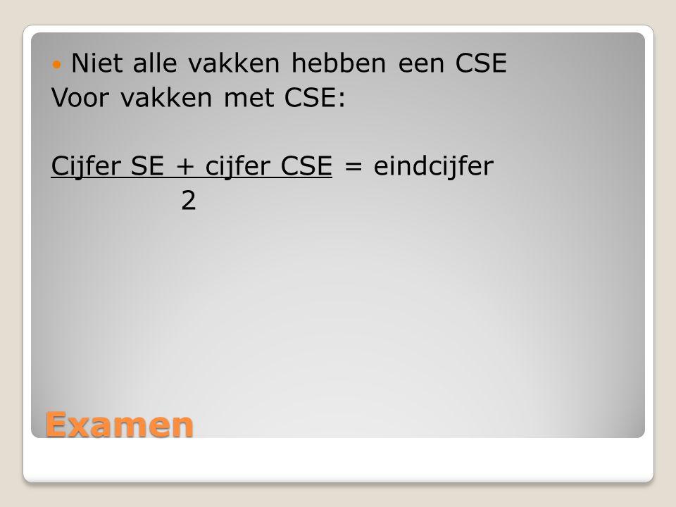 Examen Niet alle vakken hebben een CSE Voor vakken met CSE: