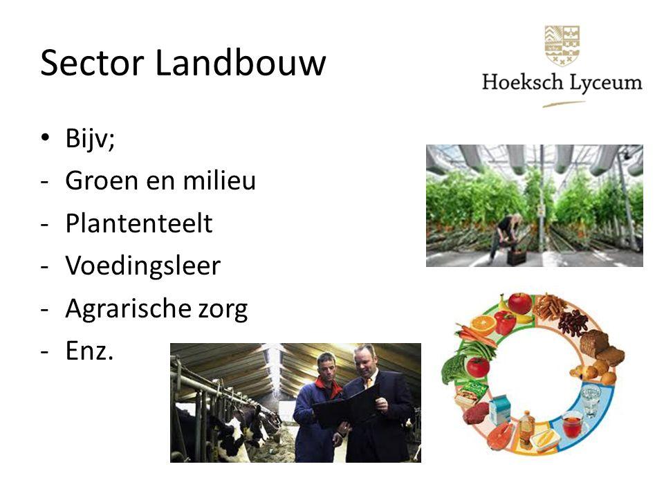 Sector Landbouw Bijv; Groen en milieu Plantenteelt Voedingsleer