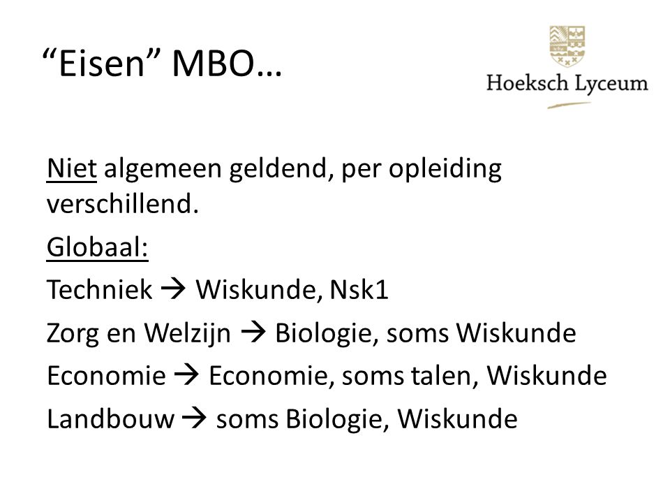 Eisen MBO…