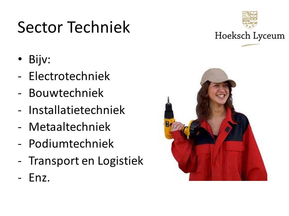 Sector Techniek Bijv: Electrotechniek Bouwtechniek Installatietechniek