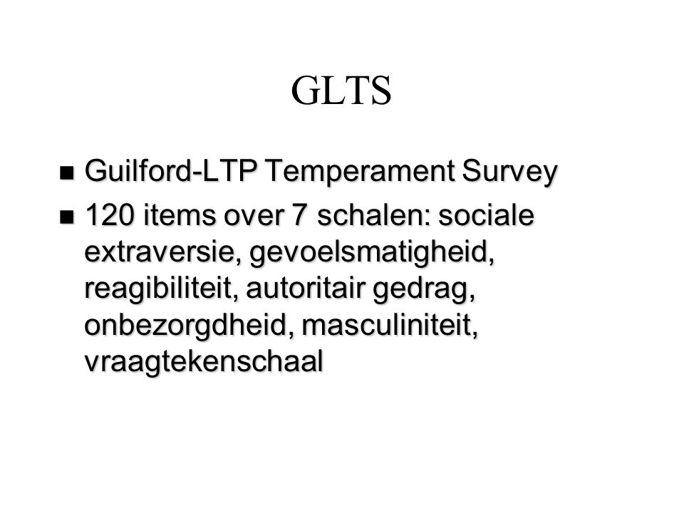 GLTS Guilford-LTP Temperament Survey